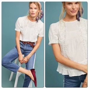 Meadow Rue Montecito Blouse Ivory Embroidered Lace